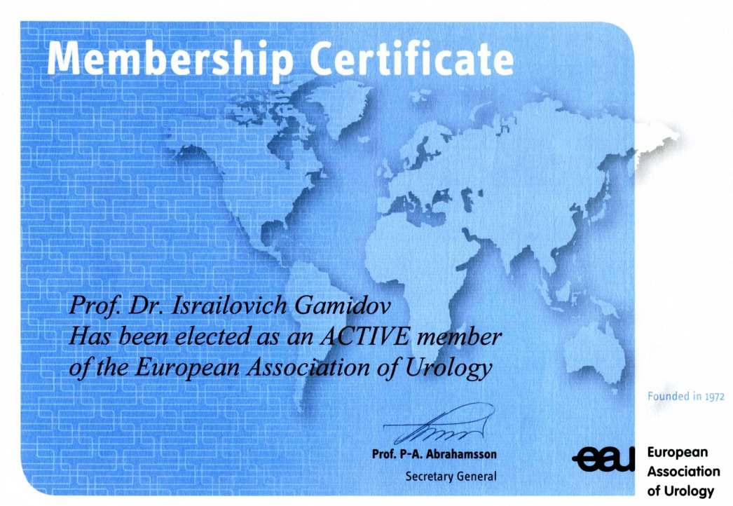 Elected as an ACTIVE member of the European Association of Urology
